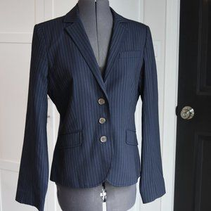 J. Crew Blue 3 -Button Pinstriped Blazer Size 8